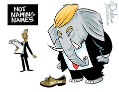 0116 state union shoe fits cartoon (DSL art and photos) Tags: election president politics congress trump obama address republicans stateoftheunion editorialcartoon swansong donlee