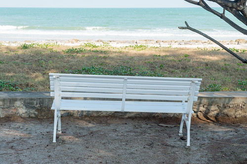 The white bench side the beach
