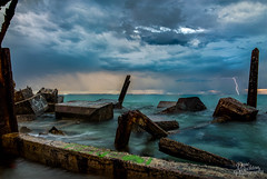 Coogee Beach. (davebuckton) Tags: ocean longexposure summer storm rocks waves perth lightning crabs fremantle westernaustralia 2016