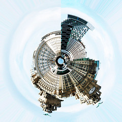 Planet Liverbirds (Gill Stafford) Tags: city england art liverpool waterfront image artistic creative photograph threegraces graces liverbuilding gillys tinyplanet mersaeyside gillstafford