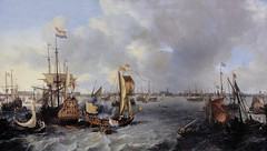 IMG_5097A Ludolf Backhuysen  1631-1708. Amsterdam.  Vue d'Amsterdam avec des bateaux sur l'Ij.  View of Amsterdam with boats on the Ij. 1666.  Louvre. (jean louis mazieres) Tags: museum painting muse netherland museo paysbas peintures peintres ludolfbackhuysen