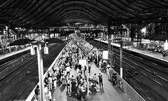 Friday, 10.30 pm (josephteh) Tags: blackandwhite monochrome station night crowd streetphotography melbourne trainstation friday southerncrossstation