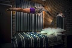 Bed Time (phunnyfotos) Tags: woman girl night jump jumping bed nikon motel australia victoria sleepy tired d750 vic leap leaping levitating iso12800 phunnyfotos nikond750 jumpingintobed