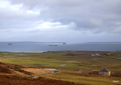 The East View From Scorradale Over Scapa Flow (orquil) Tags: old uk greatbritain winter panorama house seascape sunshine parish islands scotland interesting mixed orkney view scenic farmland gas east anchorage excellent coastline farms elevated february accommodation shipping cloudscape tanker causeway rigs holm visibility regalia memorable semisubmersible anchored sheltered churchillbarrier orcades eastmainland scorradale southisles orphirparish safeboreas prosafeowner jsineosinsight