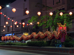 Huahin Thailand - FEB4,2016:Chinese Golden Dragon Celebrate Chinese New Year on traffic island,night scene at huahin on 4 feburary,2016 (leykladay) Tags: life china new red sculpture holiday detail art sign yellow festival closeup festive asian thailand golden spring ancient asia tour dragon power head folk background object traditional faith year chinese decoration performance culture tourist parade east celebration exotic fantasy tradition oriental custom celebrate symbolic wealth