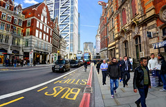 Commuters on Bishopsgate (Anatoleya) Tags: street city people urban london wideangle commuting rushhour hdr liverpoolstreetstation commuters bishopsgate photostitch anatoleya