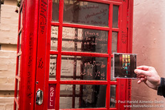 Red phone booth where David Bowie was photographed for the Ziggy Stardust album art
