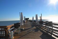 PIER IN THE MORNING (R. D. SMITH) Tags: ocean wood morning sky water sunrise outside pier florida bluesky atlanticocean canoncamera cocoabeachflorida