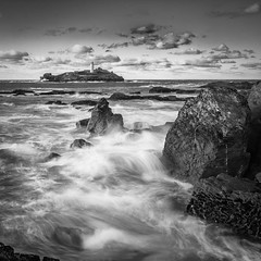Godrevey lighthouse (tonyparkin001) Tags: blackandwhite lighthouse rocks stormyseas