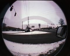 Westfield (Joshua Fast) Tags: winter film 35mm lomo fuji outdoor superia doubleexposure fisheye 400 westfield