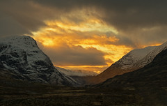 a view to heaven (ally bally bee) Tags: light sunset snow mountains tourism nature yellow clouds contrast landscape evening scotland scenery heaven colours shadows outdoor heather valley glencoe mystical wilderness sunrays atmospheric winterlight munros thethreesisters scottishhighlands bideannambian scottishlandscape lowlightphotography aonacheagachridge sonycameras sonyphotographing sonya7r sonyilce7r