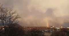 Searching for the Pot of Gold (Harry Lipson III) Tags: sky panorama nature sunshine rain weather boston landscape rainbow skies outdoor prism potofgold searchingforthepotofgold harrylipsoniii harrylipson