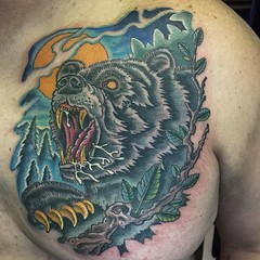 I think this is the first bear tattoo I have ever done...thanks Frank! #beartattoo #bear #pooch #alteredstatetattoo