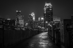 Lonely walk (selo0901) Tags: bridge blackwhite minneapolis third avenue carlyle wellsfargocenter