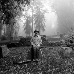 sticks and stones (Super G) Tags: california trees blackandwhite bw selfportrait hat fog forest sticks rocks sitting stones gilroy seated spc mtmadonnacountypark nikon260