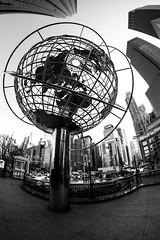 The World Around Us (agruebl) Tags: world nyc blackandwhite newyork globe noiretblanc manhattan wideangle fisheye columbuscircle schwarzweiss 8mm welt weitwinkel citysape 8mmfisheye
