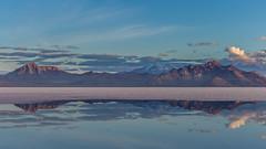 Warm sunshine (GSFC Photo Club) Tags: park morning mountain reflection water sunrise landscape utah ut outdoor range saltflat saltpan drylake bonnevillesaltflats publicland alkaliflat silverislandrange leppyhills