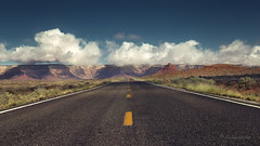 somewhere down the road (cherryspicks) Tags: road travel southwest clouds landscape unitedstates desert outdoor fourcorners lowpov