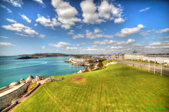 Plymouth Hoe wide angle (Allan Jones Photographer) Tags: sea sky water grass clouds photoshop boat plymouth wideangle flags devon promenade sound vista hdr plymouthhoe drakesisland 14mm plymouthsound samyang hamoaze samyang14mmf28 canon5d3 allanjonesphotographer