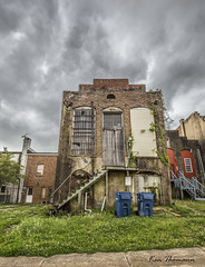 Back Alley... (Ken Thomann Photography) Tags: road wood trees storm texture nature water glass grass rain weather stone architecture clouds stairs canon buildings mississippi landscape fun concrete photography vines rust rocks downtown quiet traffic unitedstates outdoor bricks plumbing wideangle oldbuildings structure explore aberdeen lightning waste trashcan oldwood stormchasing reallyrightstuff deepsouth canon6d canon1635mmf28lii outinnature kenthomannphotography