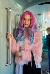 Aino (Poupetta) Tags: pink helsinki purple tram stranger streetcar aino tram8