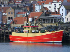 Fairline Surveyor (Nekoglyph) Tags: red yellow boat fishing rooftops harbour yorkshire guard scarborough lobsterpots barcheboats fairlinesurveyor