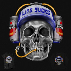 Life Sucks (kooky love) Tags: beer hat suck skull helmet threadless bintang lifesucks