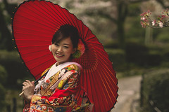In Japan (Enricodot ) Tags: street wedding red woman color colors japan umbrella women un colori streetphotographer enricodot