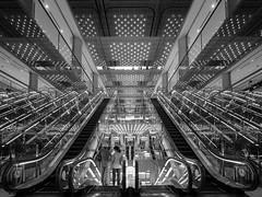 Infinite Escalator (marco ferrarin) Tags: urban japan tokyo infinity escalator galaxy   infinite chiyodaku yurakucho  mullion yurakuchomullion