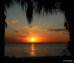 Cape Florida Sunset (pandt) Tags: ocean trees sunset sky orange sun water beauty yellow clouds digital canon landscape eos key flickr florida miami outdoor palm 7d biscayne waterscape capeflorida billbaggsstatepark