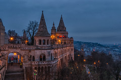 Fisherman's Bastion (CO-Foto) Tags: city blue orange house black building castle night lights hungary darkness budapest hour fishermans bastion citylight archite