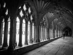 Through the arches of Canterbury cloisters (ho_hokus) Tags: uk england blackandwhite history monochrome architecture kent cathedral arches canterbury historic cloisters canterburycathedral 2016 historicbuilding fujix20 fujifilmx20