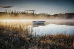 Sunrise at the loch (Katherine Fotheringham) Tags: mist water grass fog clouds sunrise reeds boat fishing loch rusky