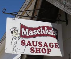 Maschka's Sausage Shop Sign (Ashton, Nebraska) (courthouselover) Tags: nebraska ne ashton sandhills greatplains shermancounty polishcommunitiesintheunitedstates