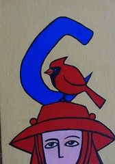 C is for Cardinal (Empress of Blandings) Tags: red church colors birds scarlet painting acrylic catholic colours cardinal c doodle alphabet reds initial acrylicpaint initials brightred letterc redbird cleric intials cardinalbird cardinalhat cforcardinal