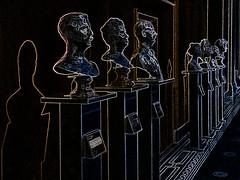 Famous Faces (Steve Taylor (Photography)) Tags: uk greatbritain blue england brown white black london art metal museum digital unitedkingdom bust va gb outline lowkey victoriaandalbert
