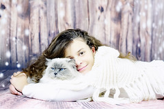Sophia and Jethro (Leo a Mia) Tags: wood blue portrait white girl wall cat eyes sophia ragdoll