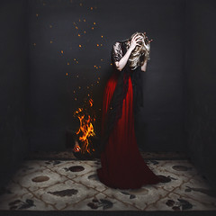 fire hive (sparkbearer) Tags: red black digital canon fire sadness adobephotoshop lace room fear surreal anger blank scared confusion fineartphotography canon5dmkii sparkbearer chelseaknight