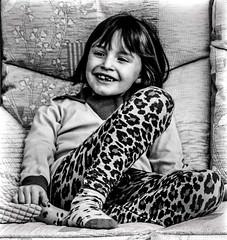 Day 119, 2016, a photo a day. (lizzieisdizzy) Tags: cute smiling socks female happy eyes sitting slim small leopardprint interested cushions leggings feetup footballshirt norwichcity quizical bobbedhair