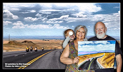 April 26 2016 - Titus, Cuca and I holding Mel Gagnon's beautiful oil painting of the photo in the background (lazy_photog) Tags: portrait self painting photography big highway motorcycles basin mel ridge riding lazy oil badlands wyoming horn bound rattlesnake sturgis elliott cuca titus photog gagnon worland 080514ridetothebighorns