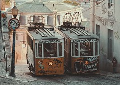 Lisbon Trams (W140) Tags: street trip morning travel streets portugal public train canon europe lisbon transport streetphotography tram afterlight 2013 canon400d canon400