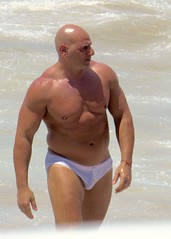IMG_1201 (danimaniacs) Tags: shirtless man hot sexy guy beach pecs muscle muscular beefy bald trunks speedo swimsuit stud bulge mansolo