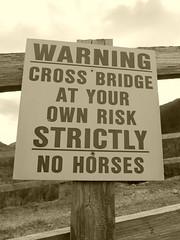 Sign on bridge on the way to Druim Fada (Mumbles Head) Tags: mountains scotland highlands grahams glenelg