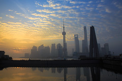 Good Morning, Shanghai (Ben-ah) Tags: building skyline architecture clouds sunrise river shanghai bluesky riverfront pudong huangpu orientalpearltower lujiazui huangpuriver lujiazuiskyline