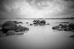 Rocks at Punggol Beach (mcartmell) Tags: longexposure blackandwhite beach singapore rocks punggol