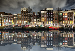 The Emperor's Canal (Pat Charles) Tags: longexposure travel houses house holland reflection building tourism home water netherlands amsterdam architecture night clouds buildings reflections river canal nikon europe terrace reflected join conjoined
