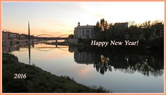 Happy New Year (Marlis1) Tags: sunset reflections greetings ebroriver marlis1 beautyofwater tortosacataluñaespaña canong15