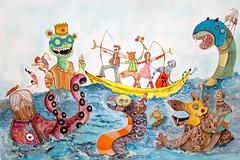 Claves del pnico 2 (ELECTROBUDISTA) Tags: art illustration watercolor painting paper cool colorful arte colombian handmade gouache artista colorido seamonsters inkonpaper adalberto adalbertocamperos colorfulimages electrobudista