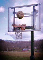farm bucket (brown_theo) Tags: county ohio red net basketball st clouds barn hoop farm louisville rim licking