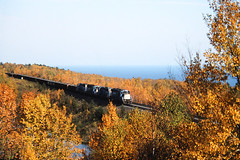 Great Leaves and Lake (view2share) Tags: railroad autumn trees fall minnesota train october track fallcolor transport tracks engine rail railway rr trains northshore transportation rails 1998 empties range ore arrowhead mn rare lakesuperior freight westbound taconite silverbay railroaders railroads roadtrain northernminnesota freighttrain railroading emd freightcars ironrange october1998 rring sd18 doubletrack trackage electromotivedivision taconitetrain northeastminnesota oretrain northshoremining orepellets deansauvola october101998